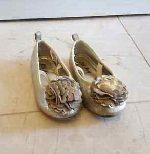 Gold sparkle party shoes size 7 or 18-24mths