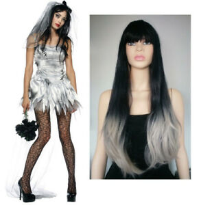 BRAND NEW: Deluxe Long Straight Gradient Black-Grey Wig