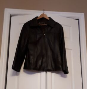 Lined Brown Leather Jacket, Women's Medium