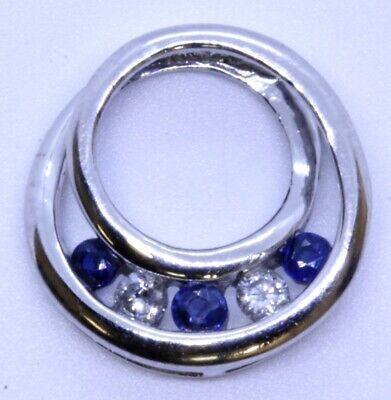 Alwand Vahan 10K Solid White Gold Round Sapphire & Diamond Spiral Slide (Sapphire Slide Pendant)
