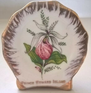 Vintage Bone China Lady Slipper Mini Plate Prince Edward Island