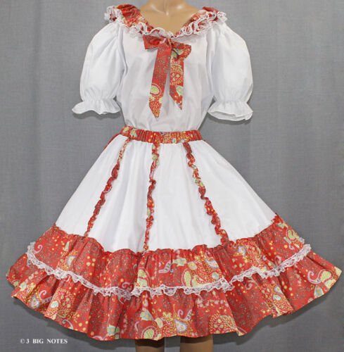 WHITE &TANGERINE PAISLY FLOWER SQUARE DANCE OUTFIT SZ L