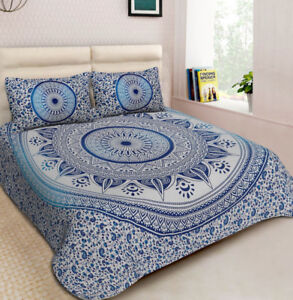 MANDALA QUEEN BEDSHEET WITH PILLOW COVERS BLUE NEW