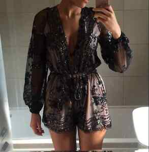 BRAND NEW Deep Plunge V-Neck Long Sleeved Beaded Sequin Playsuit Cambridge Kitchener Area image 10
