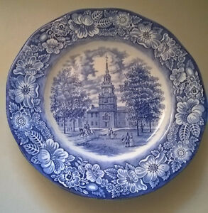 Staffordshire Liberty Blue Independence Hall Plates