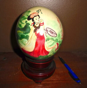CHINESE OSTRICH EGG HANDPAINTED ON ROSEWOOD BASE