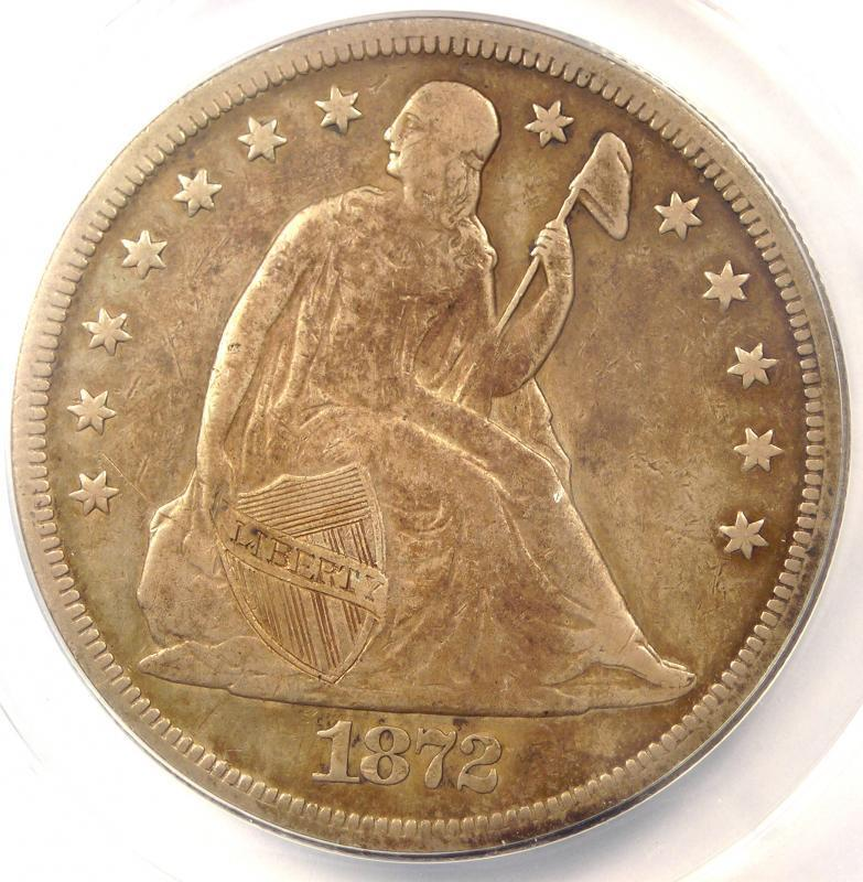 1872-CC Seated Liberty Dollar $1 - ANACS F15 Details - Rare Carson City Coin
