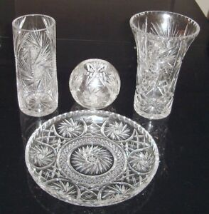 Brilliant Pinwheel  Cut Glass Vases & Serving Platter