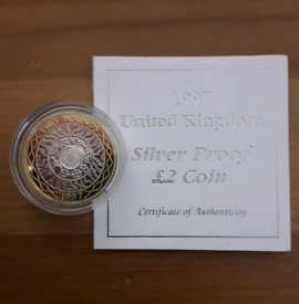 Silver Proof 1997 £2 TWO POUND coin with CoA and gold accenting