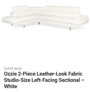 White Sectional Couch Brick (left facing)
