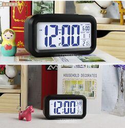Small Digital Alarm Clock LED Light Control Backlight Time Calendar Thermometer