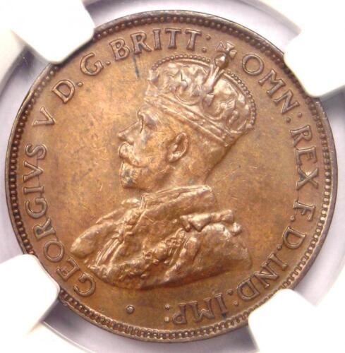 1923 Australia George V Half Penny 1/2P KM-22 - NGC AU55 - Rare Key Date!