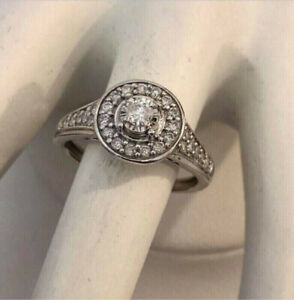 10k white gold halo diamond engagement ring *Certified at $2,300
