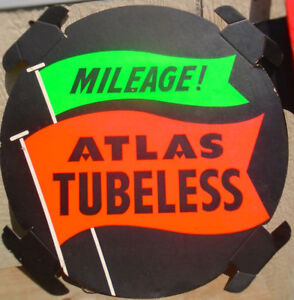 VINTAGE 1950s ATLAS TIRES 17 1/2 INCH CARDBOARD TIRE INSERT SIGN