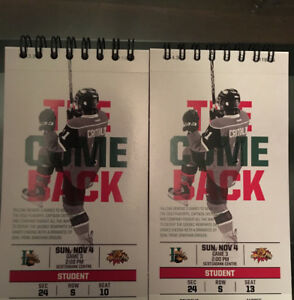 SOLD - Moncton Wildcats @ Halifax Mooseheads - Nov 4 Tickets x2