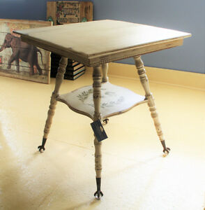 ANTIQUE ACCENT TABLE, FERN TABLE, REFINISHED, SHABBY CHIC