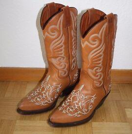 Cowboy Boots - Malboro Classics Ladies UK size 4, EU 37 Tan Leather