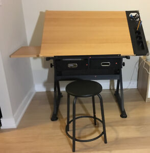 drafting table and  stool set
