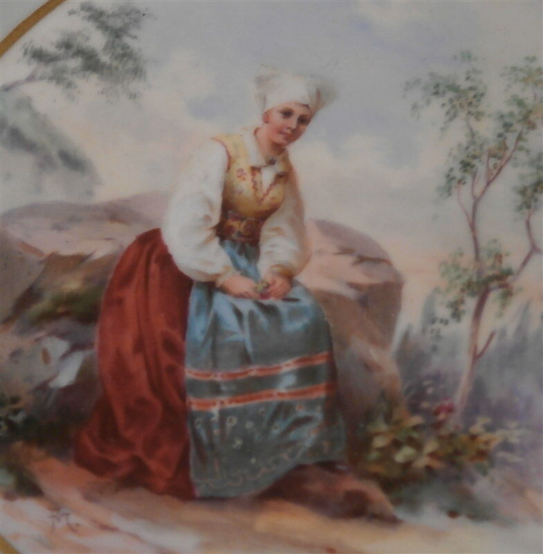 Antique 19thC Gustavsberg Gustafsberg Porcelain Scenic Saucer Swedish Sweden