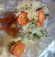 Coral, Peach & White wedding Bouquet Flower Set.