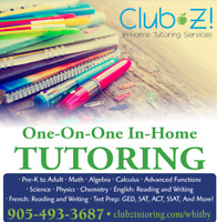 IN-HOME TUTORING - MATH, SCIENCE, FRENCH, ENGLISH & MORE!
