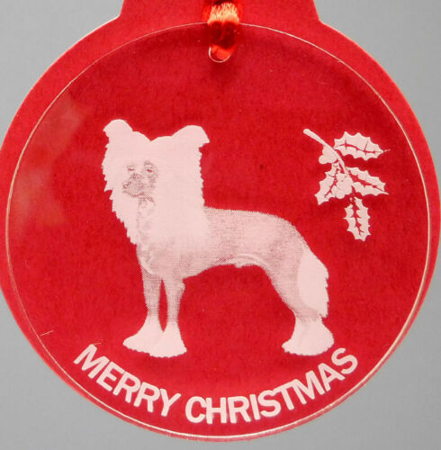 CHINESE CRESTED DOG ORNAMENT, LUCITE,