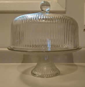"""Anchor Hocking Pedestal Cake Stand/ Punch Bowl 11"""" Clear Glass"""