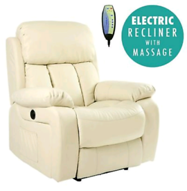 Cream Electric recliner Armchair free local delivery