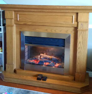 Dimplex Electric Fireplace with Brass Accent and Remote