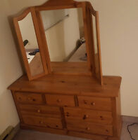 Wooden 7 Drawer Dresser with Mirrors