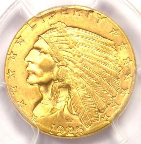 1925-D Indian Gold Quarter Eagle $2.50 Coin - Certified PCGS MS65 - Gem BU!