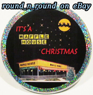 Waffle House PIN - Christmas HOLOGRAM BUTTON Fast Food Gift Stocking Stuffer ()