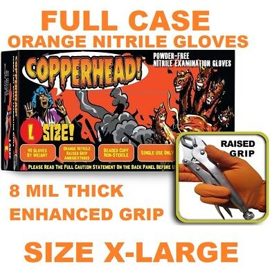 Copperhead Orange Nitrile Gloves 8 Mil Powder Free Full Case Size Xl X-large