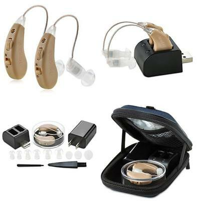 Sound Aids Hearing Amplifier Digital Adjustable Tone Small Rechargeable Pair New