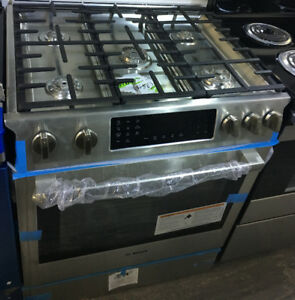 "NEW Stainless Steel 30"" Slide In Bosch dual fuel gas range"
