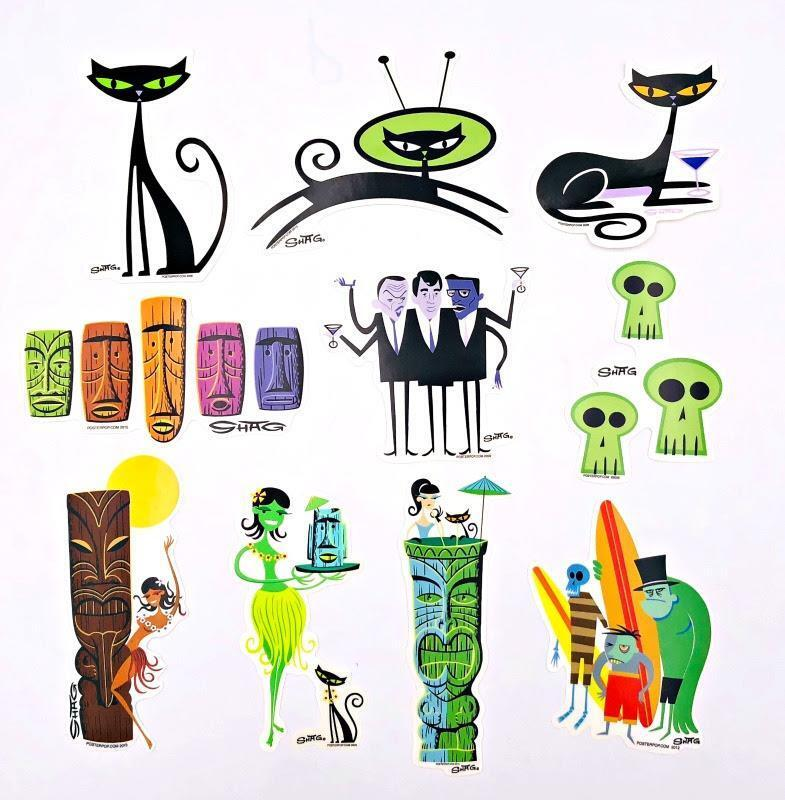 SET OF 10 POSTER POP SHAG STICKERS TIKI GIRL CATS ZOMBIE