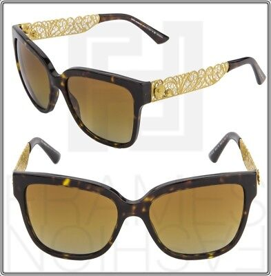 DOLCE & GABBANA Metal Filigree DG 4212 Square Sunglasses Gold Brown Polarized