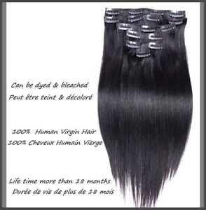 CLIP IN hair extensions,VIRGIN REMY HUMAN HAIR 7A,7 pcs,STRAIGHT Yellowknife Northwest Territories image 2