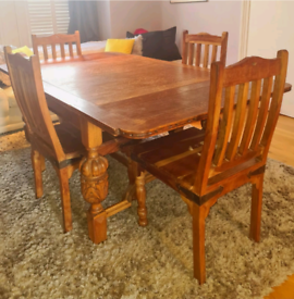 Antique Solid Oak Extendable Dining Table & 6 Chairs