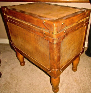 Distressed Leather Trunk Storage Table Wood Iron Brass Details