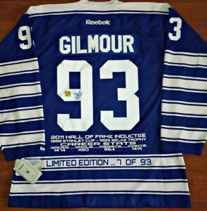 DOUG GILMOUR AUTO/SIGNED LTD/ED 93 W/ TRIBUTE PATCH STATS JERSEY