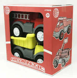 Gigantic Fire Truck and Dump Truck Toys - 2 Pack