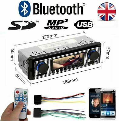 12V Bluetooth Car Radio Stereo MP3 Player USB Classic Audio SD FM In Dash 1 DIN