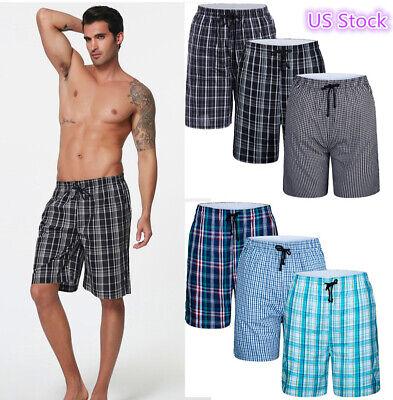 Men's 3-Pack Cotton Short Pajama Pants Plaid Lounge Beach Shorts Breathable soft ()