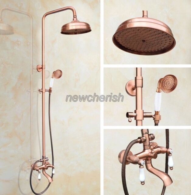 Antique Red Copper Bathroom Wall Mounted Rain Shower Faucet Set Mixer Tap nrg574