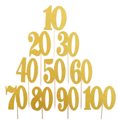 10X 10 20 30 40 50 60 70 80 Years Birthday Cupcake Cake Topper Party Decor