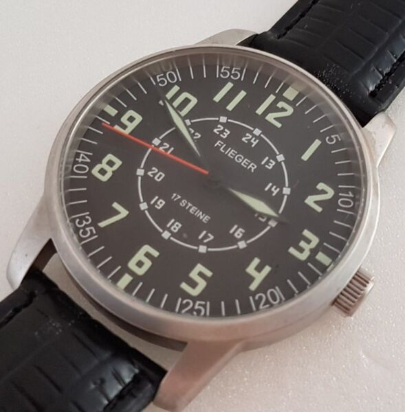 Rare FLIEGER manual winding wrist watch, Germany Made, Military model, 24 hours dial, Vintage Time