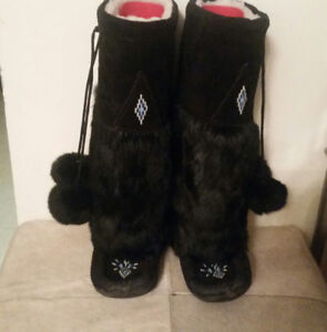 Real Fur & Suede Mukluk Boots