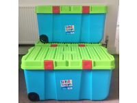 Storage Boxes 125 litre | Extra Large Plastic With lids and Wheels x 3 Available