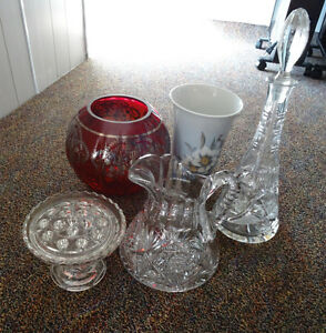 Assortment of Elegant Glass & Crystal Decanters MOVING SALE